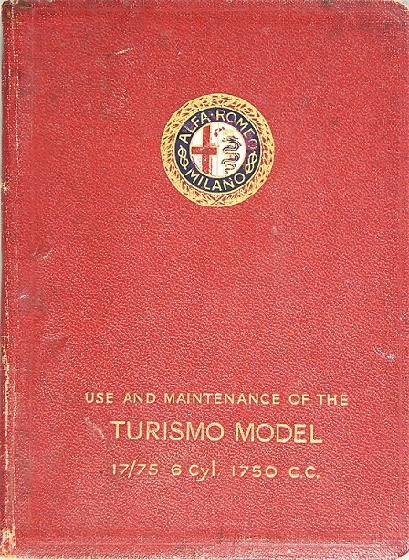 1928-33 Alfa Romeo 6C 1750 Turismo owner's manual on