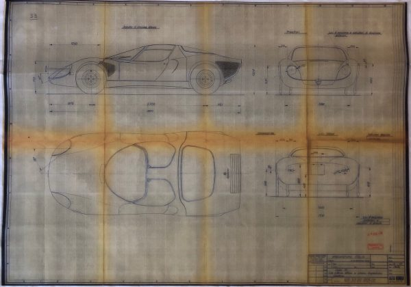Collector Studio Fine Automotive Memorabilia 1968 Alfa Romeo Tipo 33 Stradale Blueprint