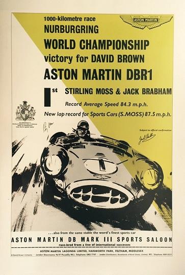 Collector Studio Fine Automotive Memorabilia 1958 Aston Martin Nurburgring Multi Signed Poster