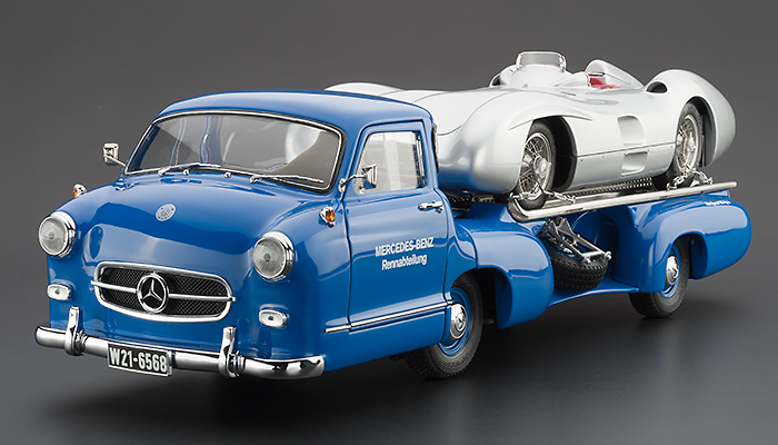 Collector Studio Fine Automotive Memorabilia 1 18 1954 Mercedes Benz Blue Wonder Racing Transporter