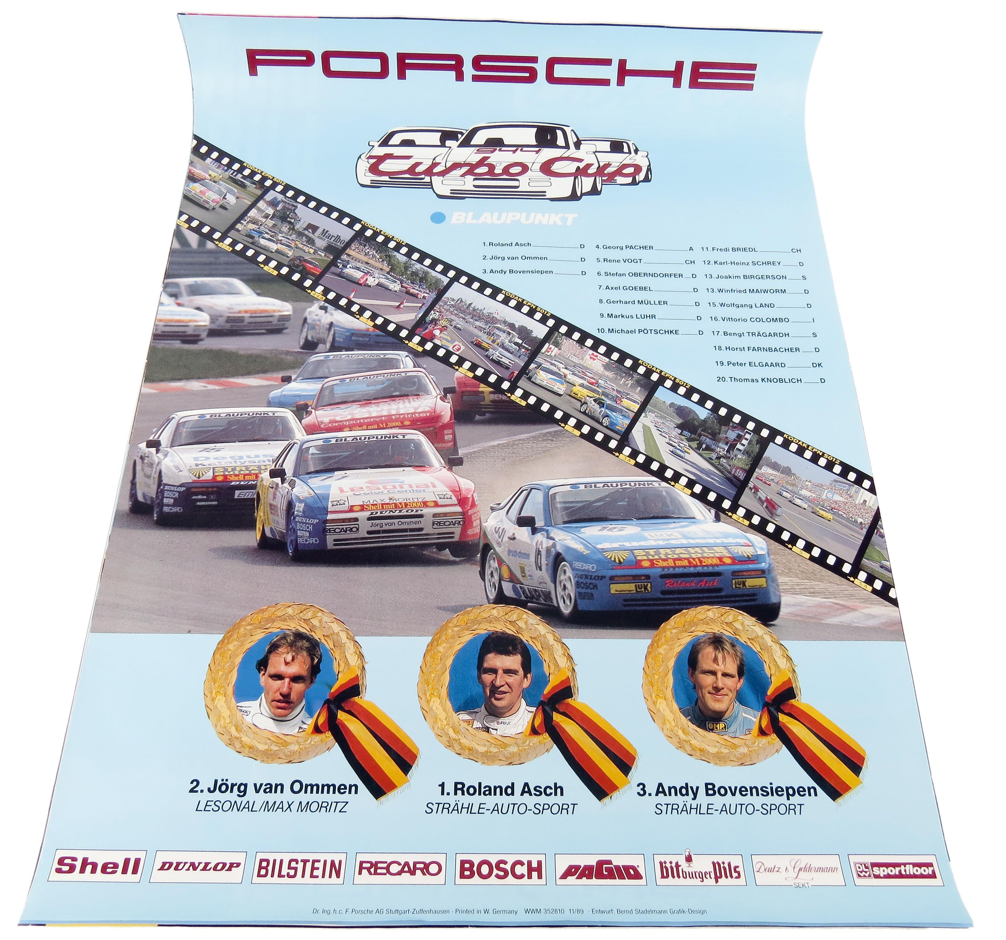 Collector Studio Fine Automotive Memorabilia 1989 Porsche 944 Turbo Cup Factory Poster